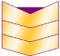 Three gold chevrons, purple fills one half of upper chevron opening.
