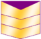 Three gold chevrons, purple fills upper chevron opening.